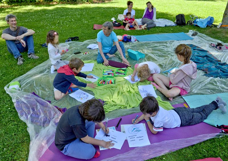 Yoga enfant au Parc V. Thuillat été 2019 avec Birgit